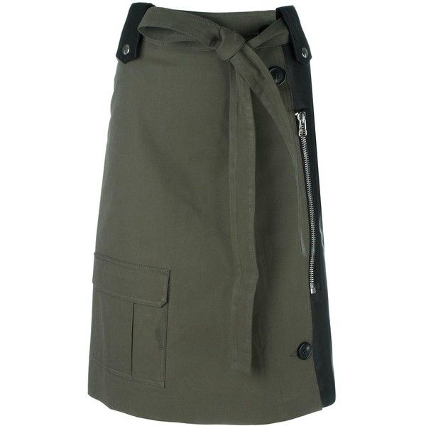 Each X Other hybrid military skirt (45.420 RUB) ❤ liked on Polyvore featuring skirts, green, military skirt, green skirt and military green skirt
