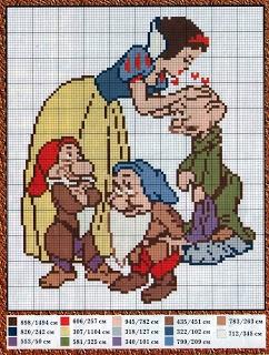 Encontrado en encantosempontocruz.barbie.blogspot.com A page of snow White and the 7 Dwarfs