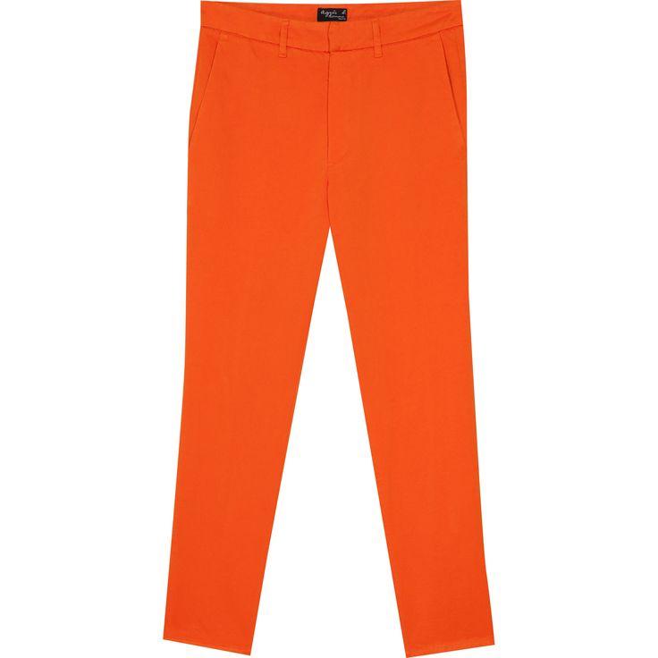 pantalon jamy orange pantalon droit avec ceinture à passants fermée par agrafe et bouton sous patte décalée.