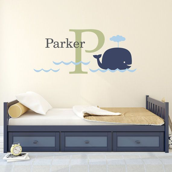 Big Whale Initial & Name Decal Set  Kids by StephenEdwardGraphic