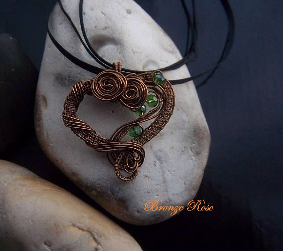 Handmade wire wrapped heart necklace