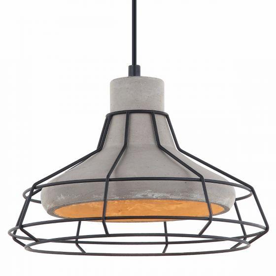 Lampada Pavone Concrete Shade & Black Cage Pendant Light