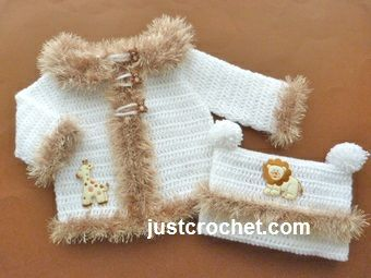 Free baby crochet pattern for coat & hat http://www.justcrochet.com/fluffy-coat-hat-usa.html #justcrochet