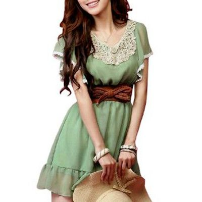 Ladies Scoop Neck Lace Detail Sleeves Chiffon Mini Dress Green XS