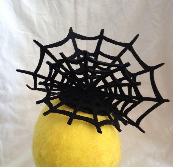 Black Felt Spiderweb Fascinator Hat Perfect for Halloween