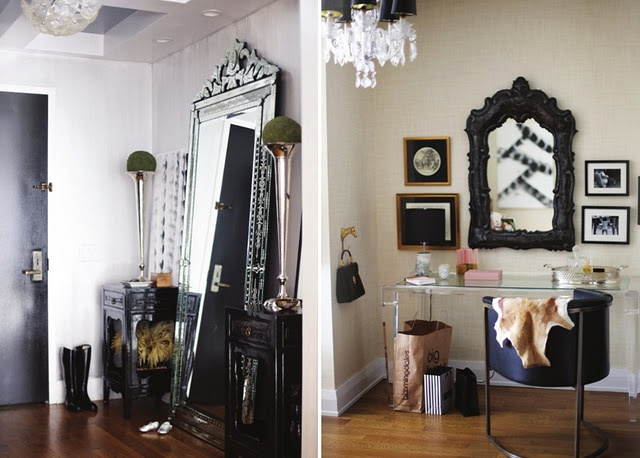 loving the floor length mirror for an entryway...and the tall trumpet vases with greenry