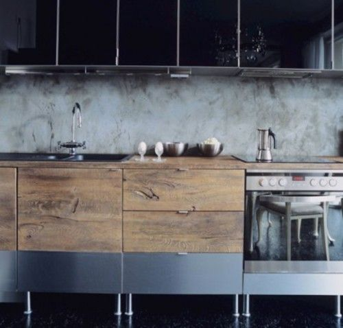 Nice kitchen, wood + metal