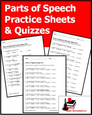 Three free parts of speech practice sheets and three free parts of speech quizzes from Raki's Rad Resources. Help students to identify the part of speech of words in a sentence.