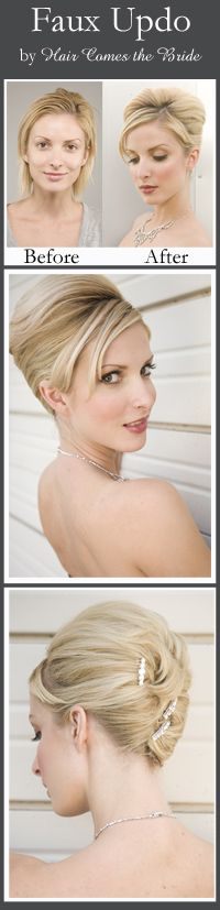 Before and After Bridal Hair and Makeup by Hair Comes the Bride - Faux Updo bridal hairstyle for short hair.