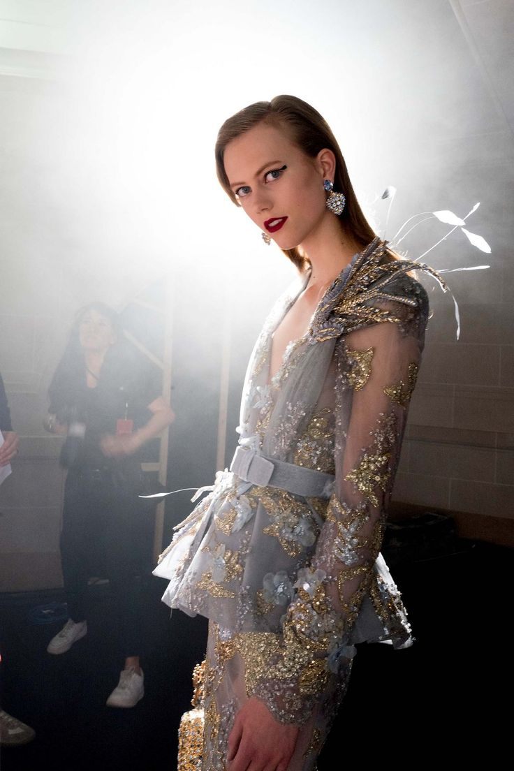 Backstage at Elie Saab.