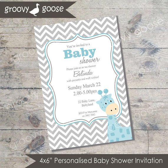 Chevron Giraffe Baby Shower invitation  BLUE DIY by groovygoose