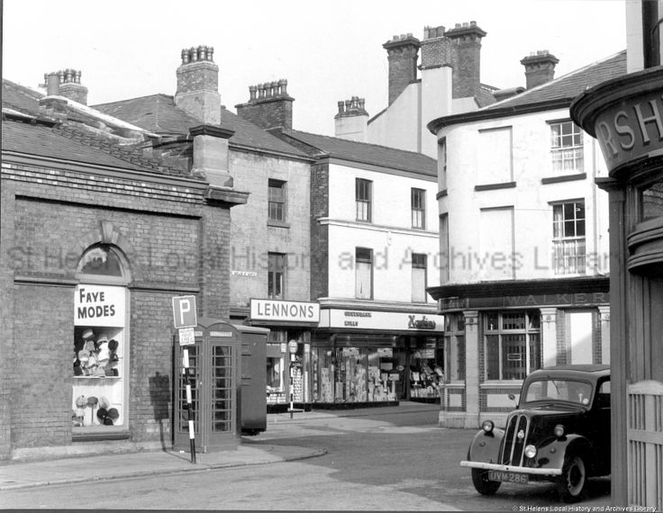 MCL/3/22 Black and white photograph showing Market Place and Naylor Street, St.Helens 1963, .* Tray- it had character - and a Ford POP to boot* .............................MCL - Clare Collection 3 - Black and white photographs and drawings of St.Helens