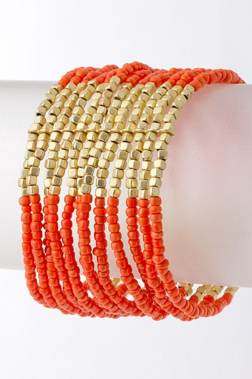 Coral Ariana Bracelet  A mix of Layered Seed Beads and metallic Pebbles perfectly weaved into a gorgeous combination that's simply breathtaking.