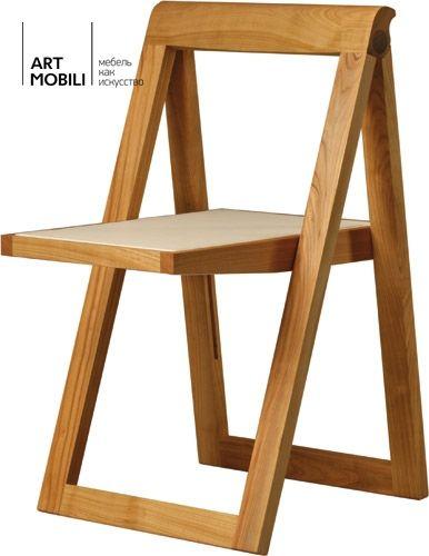 Складной стул из вишневого дерева. Кожаное сиденье. Размеры / мм ширина x глубина x высота 460 x 500 x 760