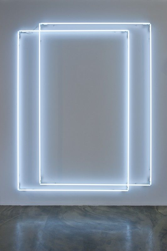 'Ghost No.21' (2013) by Swiss artist Lori Hersberger (b.1964). Neon tubes, colour white, 290 x 325 cm. source: Jerome Zodo Contemporary, Milano