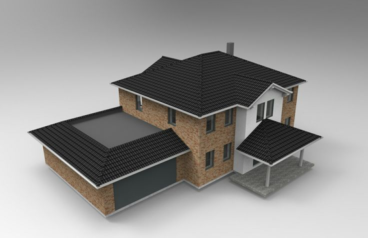 Stadtvilla mit zwei hohen Erkern, Vordach jnd Doppelgarage. Visualisiert von www.meinhausin3d.com