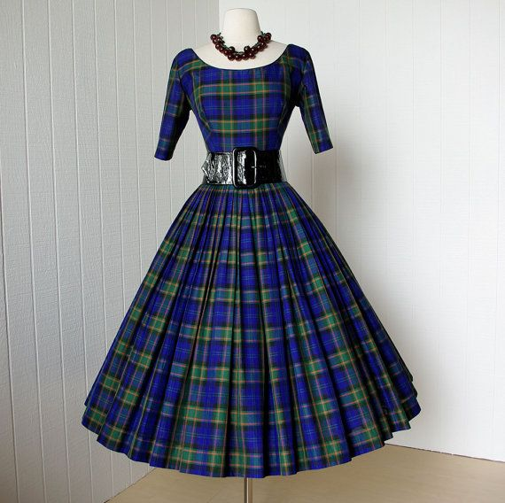 vintage 1950's dress ...classic GIGI YOUNG new look blue plaid full skirt pin-up dress with attached tulle crinoline