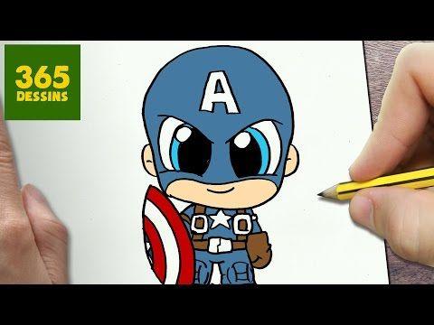 COMMENT DESSINER CAPTAIN AMERICA KAWAII ÉTAPE PAR ÉTAPE – Dessins kawaii facile - YouTube