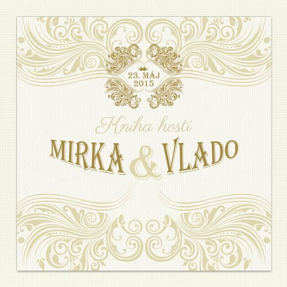Svadobná kniha hostí s tvrdou knižnou väzbou. Predná strana v dizajne vášho svadobného oznámenia. Krásna pamiatka na váš svadobný deň s prianiami od vašej rodiny a priateľov.