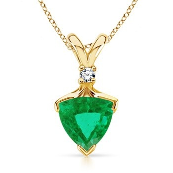 Angara Vintage Emerald Pendant with Diamond Accents in Rose Gold rmUsBb1r