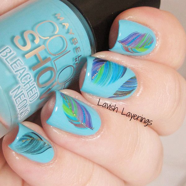 $2.86 1 Sheet Eye-catching Flying Colored Feather Pattern Nail Art Water Decals Transfers Sticker - BornPrettyStore.com