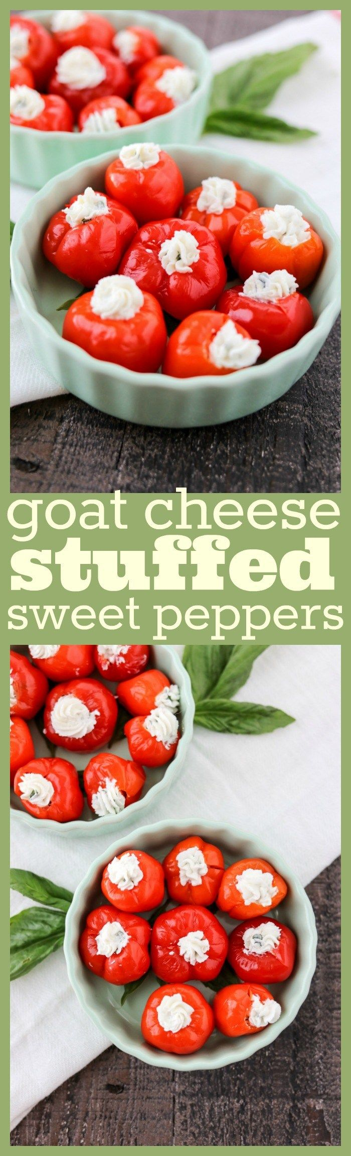 Goat Cheese Stuffed Sweet Peppers - Creamy goat cheese is mixed with fresh basil and garlic and then stuffed into a sweet peppadew pepper. The perfect appetizer for your next party!