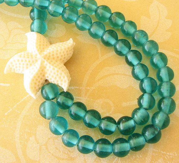 Starfish Jewelry Aquamarine Necklace Seafoam Jewelry by zafirenia, $41.00