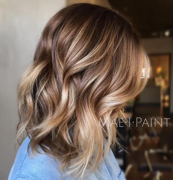 Lob With Brown Blonde Balayage