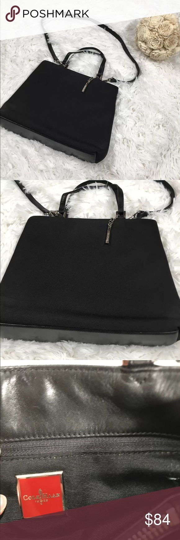 Vintage cole haan purse solid black 90's Cole Haan  Vintage 90's  Solid black shoulder bag  Leather straps and handles  See last photo for minor scratches INSIDE purse  Excellent condition otherwise! Cole Haan Bags Shoulder Bags