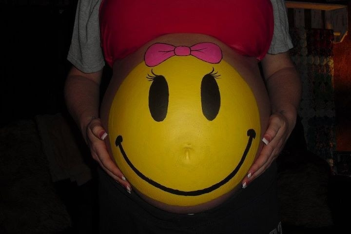 Female Happy Face - Belly Painting #45 1-27-12