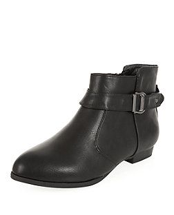 Wide Fit Black Ankle Boots | New Look