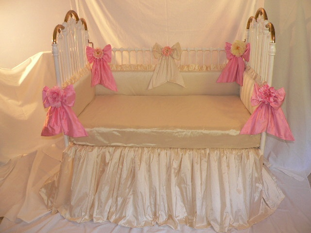 $450 bumper, skirt Custom Crib Bedding and Balloon shades in Ivory Silk & Color Accents