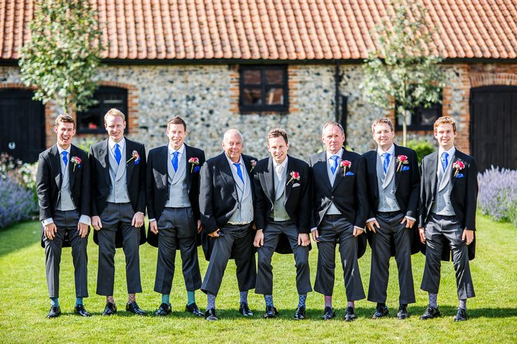 Traditional Morning Suit Tails Groomsmen Wedding Portrait | Ian Stuart Bridal Gown | Rustic Wedding in a Barn in | Hand Sewn Cobalt Blue Bridesmaid Dresses | DIY Wild Flowers | Images by Lina & Tom | http://www.rockmywedding.co.uk/emily-luke/