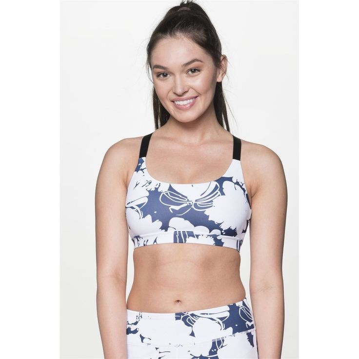 TheFreeYoga Women's Blue and White Sports Bra
