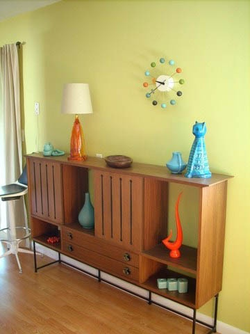 Chartreuse wall - retro furnishings and accents