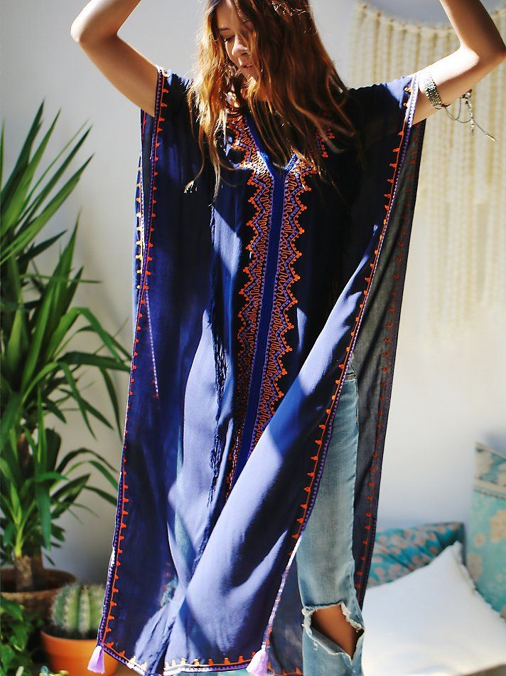 c7f55b441d5 Embroidered Maxi Poncho