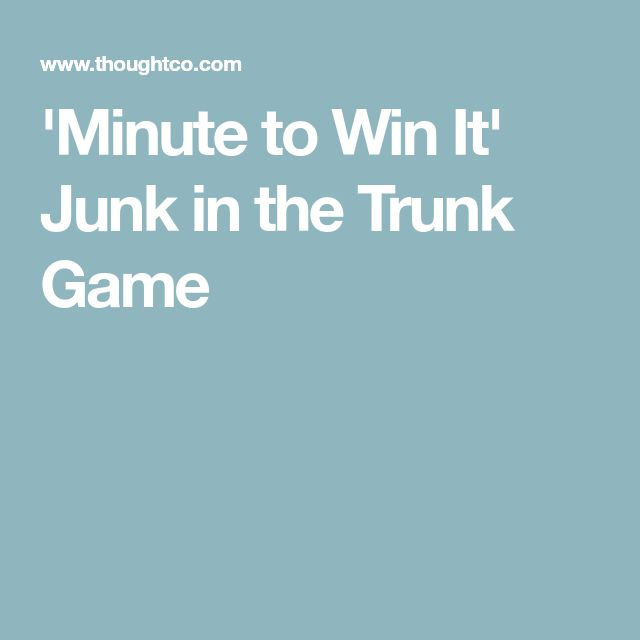 'Minute to Win It' Junk in the Trunk Game