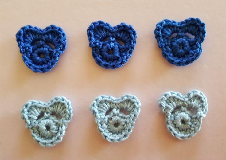 Lot de 6 appliques oursons au crochet : Autres pièces pour créations par atelier-crochet