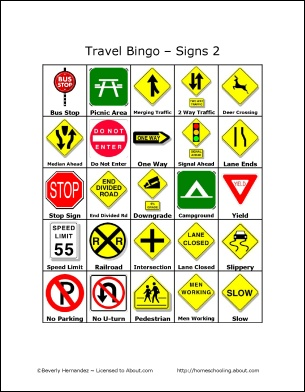 Travel Bingo - Traffic Signs 2