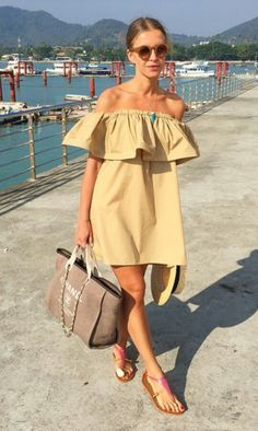 Ruffled off shoulder dress -make the dress white and it's the ultimate Greek summer outfit
