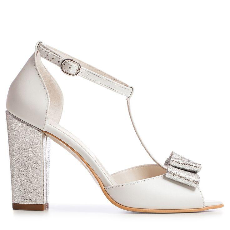 Sandale mireasa albe cu toc gros si funda Peep Toe