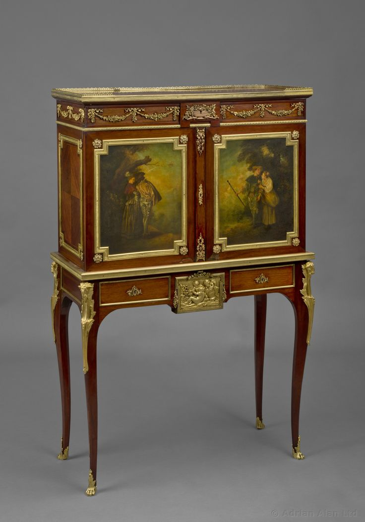 A Fine Gilt Bronze Mounted Kingwood Vernis Martin Cabinet On Stand By  Sormani