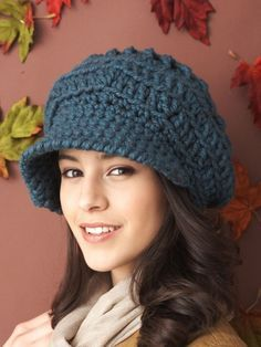 Free Pattern - Stylish, slouchy hat with fun textured detail. #Crochet it in Bernat Softee Chunky.