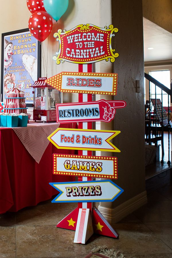 Carnival sign for a circus themed birthday party