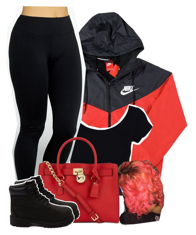 """""""12/29/15"""" by uniquee-beauty ❤ liked on Polyvore featuring NIKE, Yummie by Heather Thomson, Michael Kors and Timberland"""