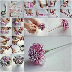 DIY gyönyörű virágok a régi napló. |  iCreativeIdeas.com