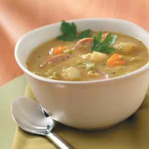 Kielbasa Split Pea Soup..Note: Best Split Pea Soup I've ever made and I make this about every 2 months. I've replaced the sausage with canadian bacon at times too.