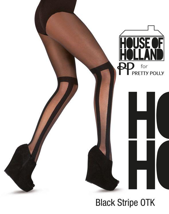 Modieuze zwarte panty van Henry Holland. Een soort gestreepte kousen die boven de knie komen en panty in 1. De gestreepte opaque delen zijn 80 denier en de transparante delen 20 denier. One size.