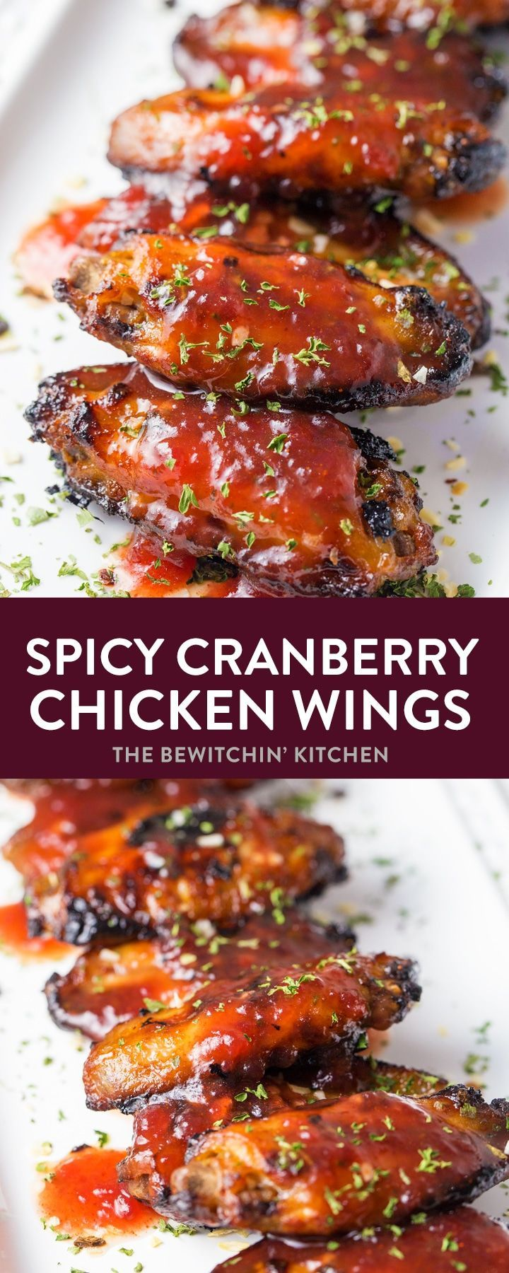 Spicy Cranberry Chicken Wings - Hot wings with a touch of cayenne spice!  #thebewitchinkitchen