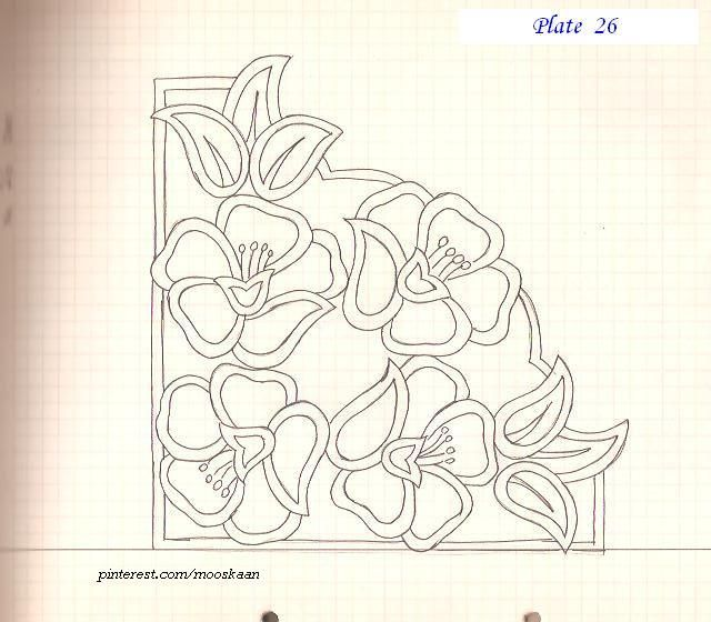Corner Motif pattern ideal for Cutwork embroidery..... Plate #26